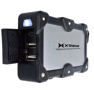 2.4Amp Dual Port Weatherproof Power Bank Charger 7800mAh (Black)