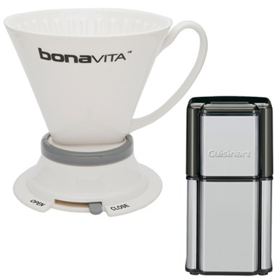 Wide Base Porcelain Immersion Dripper w/ Cuisinart Coffee Grinder