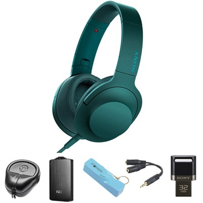 Premium Hi-Res On-Ear Stereo Headphone Blue - MDR100AAP/L w/ FiiO A3 Amp. Bundle