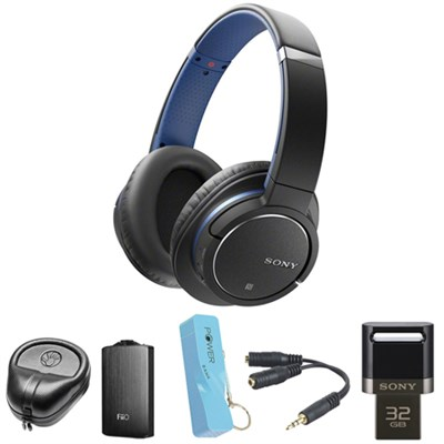 Bluetooth Noise Cancelling Headphones - Blue w/ FiiO A3 Amplifier Bundle