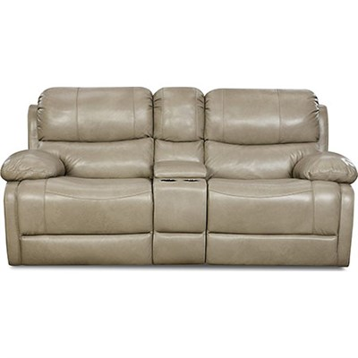 Austin 100% Leather Double Reclining Console Loveseat