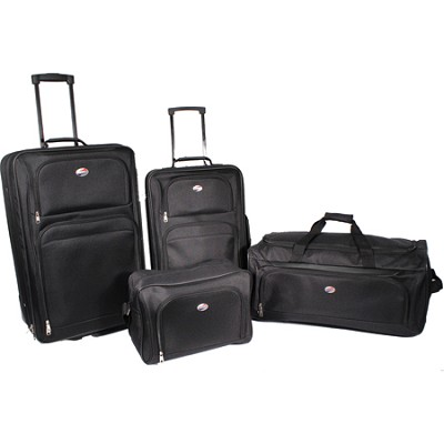 4 Piece Ultra Lightweight Luggage Set (BB/WDFL/UP21/25) - Black