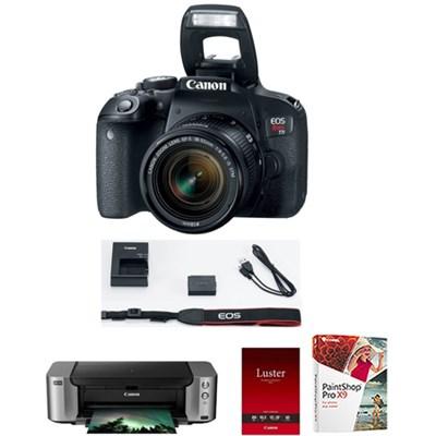 Canon EOS Rebel T7i 24.2MPMP Full HD 1080p Wi-Fi Digital SLR Camera with 18-55mm Lens (Black) + Printer + Sheets + PaintShop Pro X8
