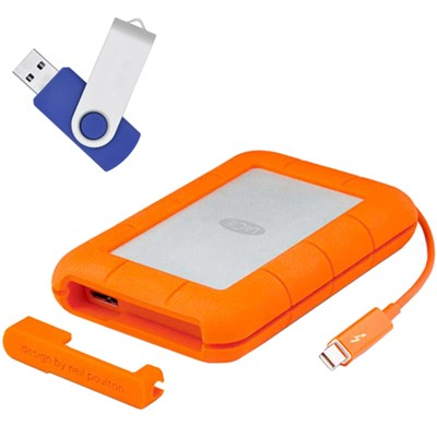 Rugged RAID Thunderbolt & USB 3.0 Mobile Hard Drive 4TB w/Flash Transfer Kit