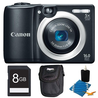 PowerShot A1400 Black 16MP Digital Camera 8GB Bundle