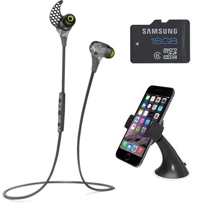 BlueBuds X Sport Bluetooth Headphones (Camo) Mount & Memory Bundle