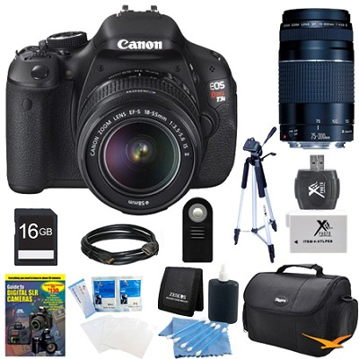 EOS Digital Rebel T3i 18MP SLR Camera 18-55mm & 75-300mm All Inclusive Bundle