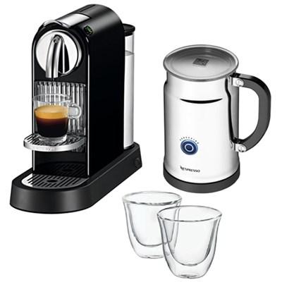 Citiz Espresso Maker with Aeroccino Plus Milk Frother w/ Glasses, Set of 2