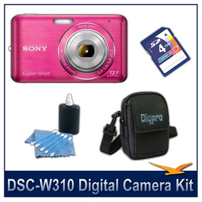 DSC-W310 Digital Camera (Pink) with 4GB Card, Case, and More