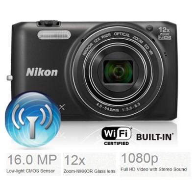 COOLPIX S6800 16MP Digital Camera w/ 12x Zoom + Wi-Fi (Black) Refurbished