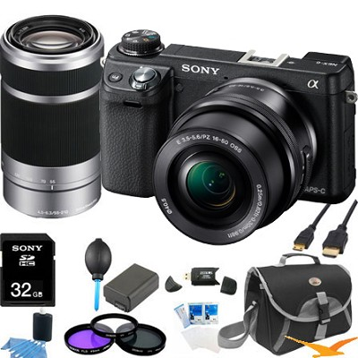 Alpha NEX-6 Digital Camera w/ 16-50mm Lens (Black) + SEL 55-210 Ultimate Bundle