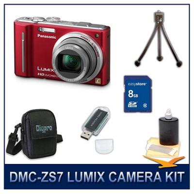 DMC-ZS7R LUMIX 12.1 MP Digital Camera (Red), 8GB SD Card, and Camera Case