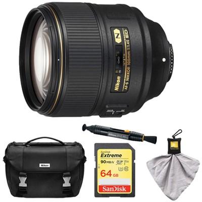 AF-S NIKKOR 105mm f/1.4E ED Lens with 64GB Card and Cleaner Bundle