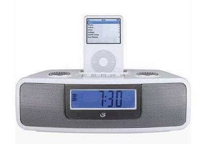 iLive CI3807 Dual Alarm Clock with iPod Dock (White)