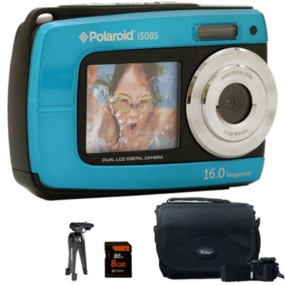 iS085 16MP Waterproof Digital Camera - Teal - 8GB Accessory Kit
