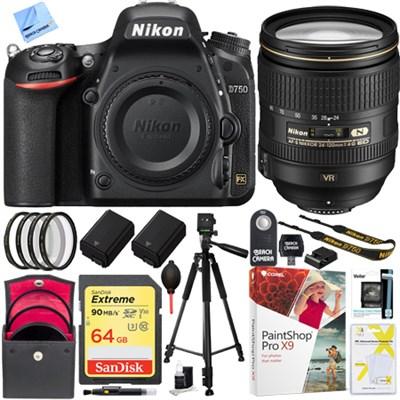 D750 DSLR 24.3MP Digital Camera w/ AF-S NIKKOR 24-120mm Lens 64GB Bundle