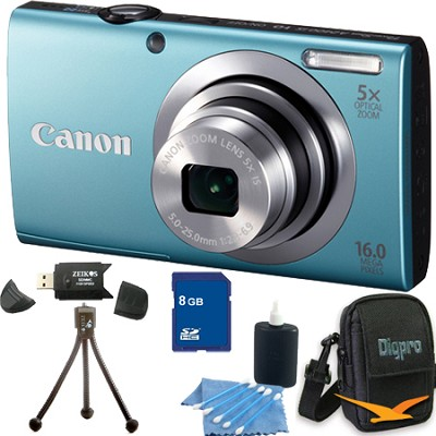 PowerShot A2400 IS 16MP Blue Digital Camera 8GB Bundle