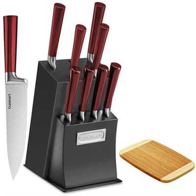 11 Pc Cutlery Set w/block - Ventrano Red w/ Bamboo Cutting Board