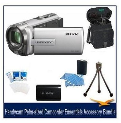 DCR-SX85 Handycam Compact Silver 16GB Camcorder w/ 60x Optical Zoom Bundle