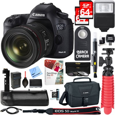 EOS 5D Mark III 22.3 MP DSLR Camera with 24-70mm IS Lens Memory & Flash Kit