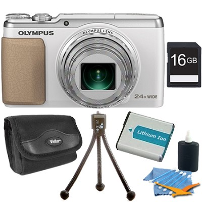 Stylus SH-50 iHS 16MP 24x Wide / 48x SR Zoom HD Digital Camera White 16 GB Kit