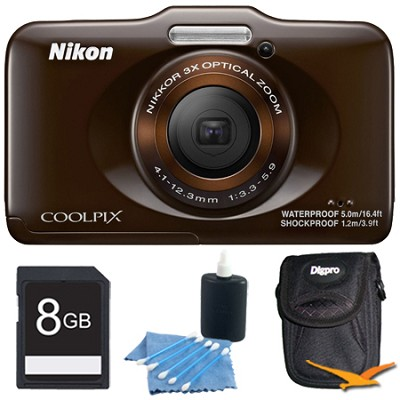 COOLPIX S31 10.1MP 720p HD Video Waterproof Digital Camera - Brown Plus 8GB Kit
