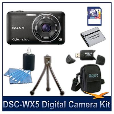 Cyber-shot DSC-WX5 Digital Camera (Black) 16GB Card, Case, and more