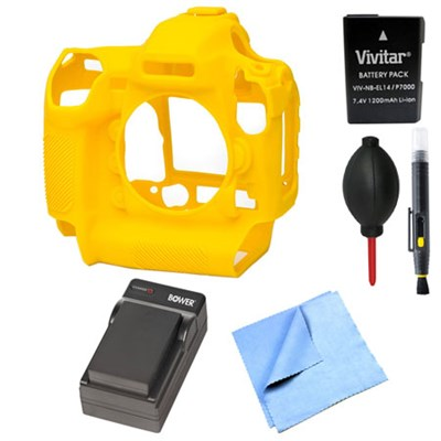 Nikon D5 Silicone Protection Cover Bundle for your DSLR EN-EL14A Battery Yellow