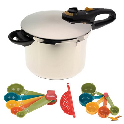 Duo 4 Qt. Stainless Steel Pressure Cooker, Measuring Sets and Drainer Bundle