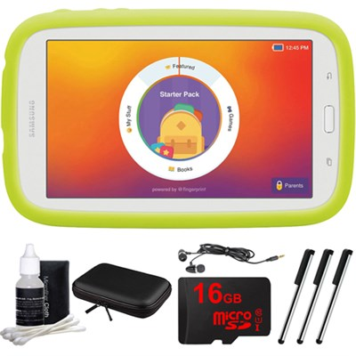 Kids Tab E Lite 7.0` 8GB (Wi-Fi) White with Bumper Case 16GB microSD Card Bundle