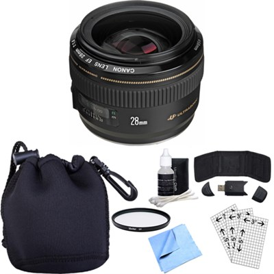 EF 28mm f/1.8 USM Wide Angle Lens w/ Essential Photography Accessory Bundle