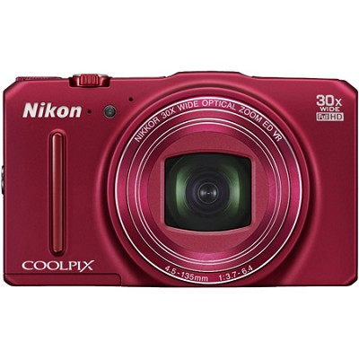 COOLPIX S9700 16MP HD 1080p 30x Opt Zoom Digital Camera - Red