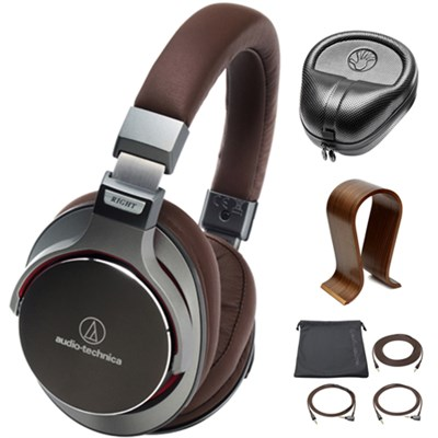 SonicPro Over-Ear High-Res Audio Headphones Grey  w/ Stand Bundle