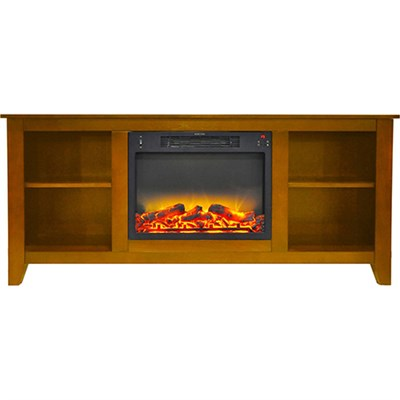 62.8 x15.2 x26.5  Santa Monica Fireplace Mantel with Logs and Grate Insert