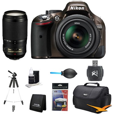 D5200 DX-Format Bronze Digital SLR Camera with 18-55mm and 70-300mm Lens Kit