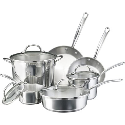75653 Millennium Stainless Steel 10-Piece Cookware Set - OPEN BOX