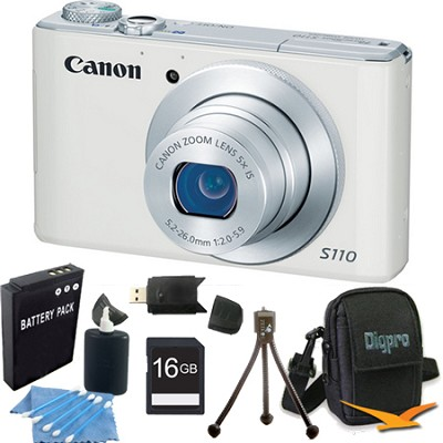 PowerShot S110 White Compact High Performance Camera 16GB Bundle