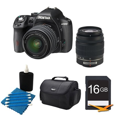 K-500 Digital SLR Camera Zoom Kit w/ DAL 18-55mm & 50-200mm Lens BLK 16GB Bundle