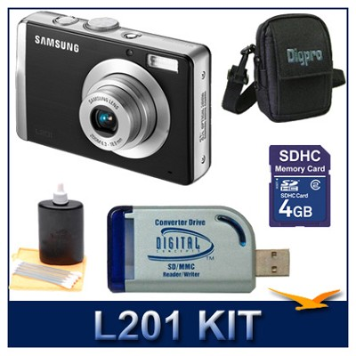 L201 10.2MP 2.7` LCD Digital Camera (Black) Ultra Savings Bundle