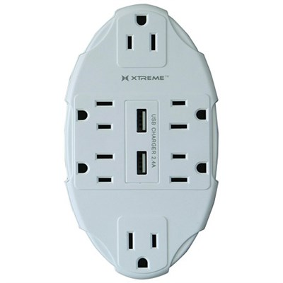XWS8-0106-WHT 6 Outlet Wall Tap with 2 USB Ports Power Unit, White