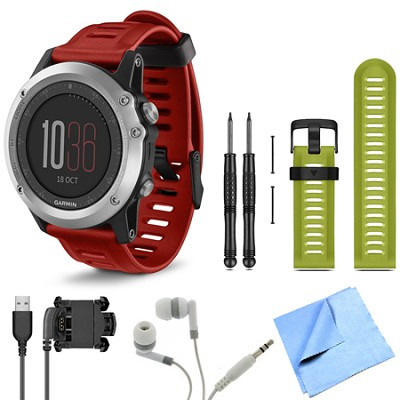 fenix 3 Multisport Training Silver GPS Watch Green Band Bundle