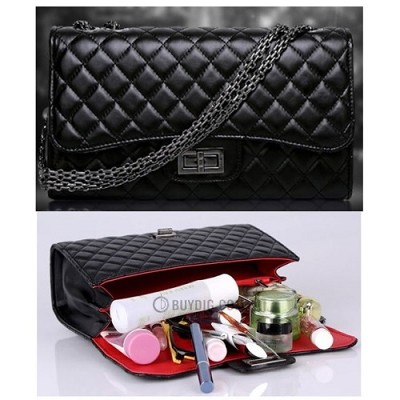 Luxury Quilted Chain Handle Handbag - Black