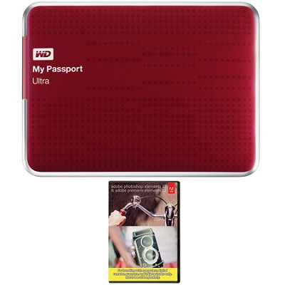 My Passport Ultra 1 TB USB 3.0 HDD Red & Photoshop Premiere Elements 12 Bundle
