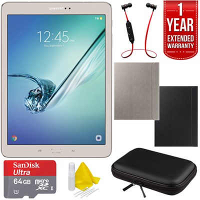 Galaxy Tab S2 9.7` 32GB Wi-Fi Tablet (Gold) + Book Cover w/ Warranty Bundle