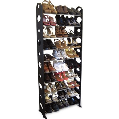 30-Pair Easy To Assemble Shoe Rack - Black