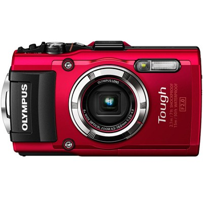 TG-3 16MP 1080p HD Shockproof Waterproof Digital Camera - Red - OPEN BOX