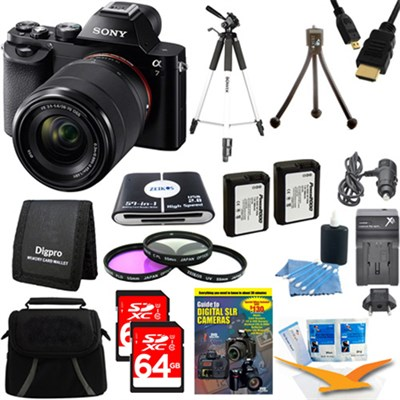 Alpha 7K a7K Digital Camera and 2 64 GB SDHC Cards and 2 Batteries Bundle