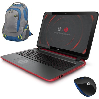 15-p030nr 15.6` AMD Quad-Core Special Edition Beats Laptop w/ Backpack & Mouse