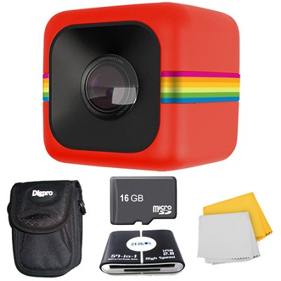 POLC3 Cube HD Digital Video Action Camera 16GB Accessory Bundle (Red)