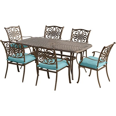 Traditions 7PC Dining Set: 6 chairs (Blue) and 38 x72  Cast Table